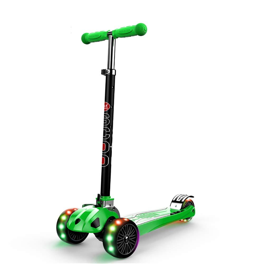 YXX- スクーター 幼児の年齢のためのアルミ合金の折るスクーターは2-16年、110ポンドの可搬重量、4つの速度の調節可能な高さ (色 : 青, サイズ さいず : Wheels) B00VSX450Y Flashing Wheels|Green Green Flashing Wheels