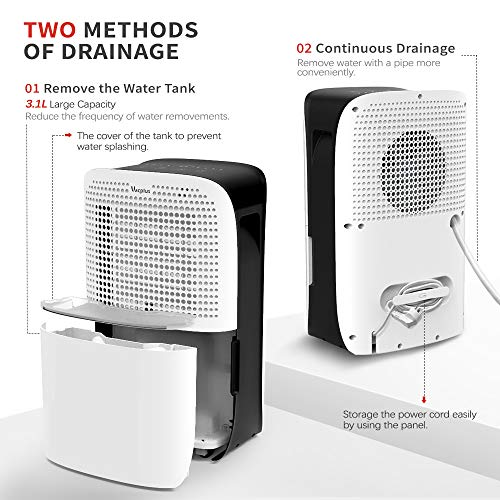 Vacplus 50 Pints Dehumidifier with WiFi Remote for Large Rooms, Large Capacity for Basements Bedroom & Home, Dehumidifier Removes Moisture Efficiently, Two Continuous Drainage Mode with Dehumidifier