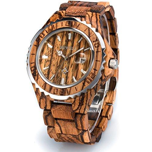 077b6a5105 BEWELL 木製腕時計 メンズ 日付き 日本製クオーツ ファション 天然木 腕時計 夜光 誕生日
