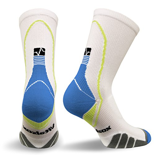 Vitalsox VT5810 Italian Support & Odor Control Crew Socks (1 pair- fitted) Best For Running, Travel, Yoga, Gym, Basketball, Sports White, Medium