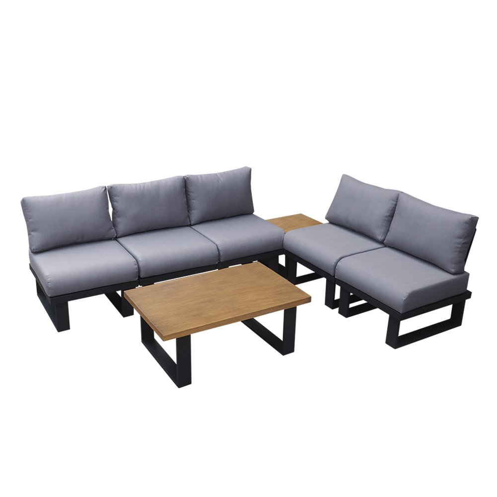 ART TO REAL Outdoor Patio Furniture Conversation Set with Coffee Table, Aluminum Sectional Sofa Set for Lawn Garden Poolside, Modern Outdoor Furniture with Hand Brush Paint