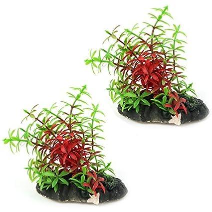 eDealMax plástico del acuario Artificial Artificial emulational Hierba Planta de Acuario Decoración 2pcs Rojo Verde