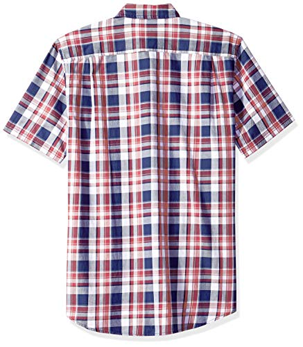 Twill Essentials pocket red Wrp sleeve Plaid Slim fit white Two Short Amazon Rouge npHWwSqxfS