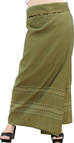 (RaanPahMuang Luxurious Thailand Silk Fabric Intricate Woven Motif 39 x 140 inch, Star Motif Olive)