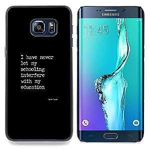 - black white text poster quote education - - Modelo de la piel protectora de la cubierta del caso FOR Samsung Galaxy S6 Edge Plus RetroCandy