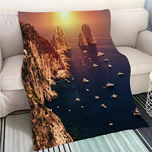 - BEICICI Creative Flannel Printed Blanket for Warm Bedroom Faraglioni Capri Island in Sunrise Light Art Blanket as Bedspread Gold White Bed or Couch