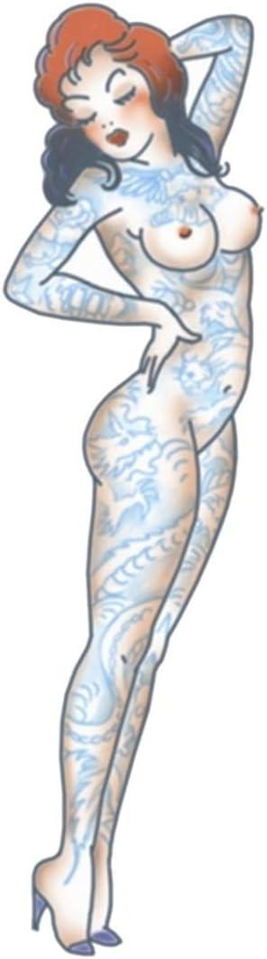 Horror-Shop Pin Up Pegamento Tatuaje Chica Desnuda: Amazon.es ...