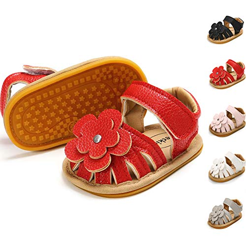 - Meckior Baby Toddler Girls PU Leather Soft Closed Toe Summer Sandals Flower Princess Flat Shoes (6-12 Months M US Infant, A-red)