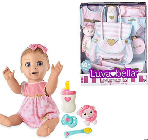 Luvabella Doll Bundle ----- BLONDE Hair Doll + 10pc Diaper Bag Nursery Set by Luvabella