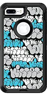 Gg-Love-Hugs-Kisses-World-Famous-Bubble-Letters-Blue-Graffiti-Greetings design on Black OtterBox Defender for iPhone 8 Plus