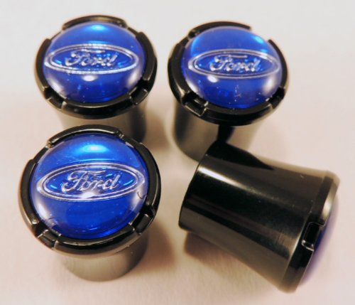 1947 Ford Truck Parts (Ford Cars & Trucks All Black Tire Air Valve Stem Caps with Blue Ford Oval Logo in Chrome Trim 4pc Set)
