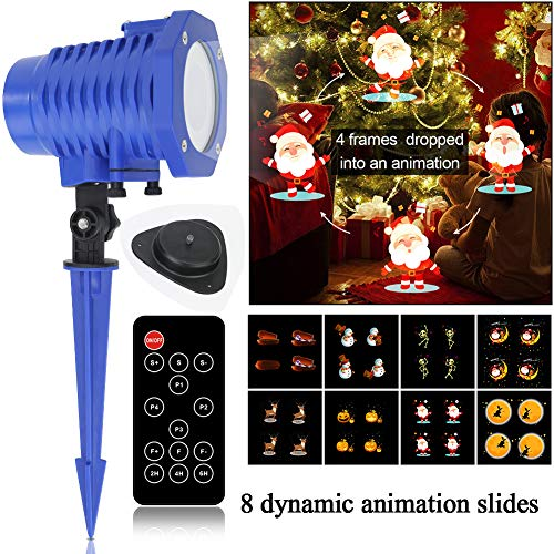 slashome Projector Light, 8 Slides Waterproof Led Animated Landscape Lights with Remote Indoor/Outdoor for Hallween Wedding Party Garden Decoration      -