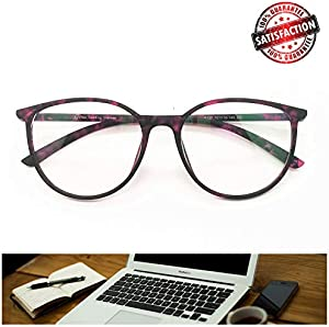 747b630407 ENTER Reading Glasses - Blue Light Blocking - Round Women Men (Violet  Tortoise