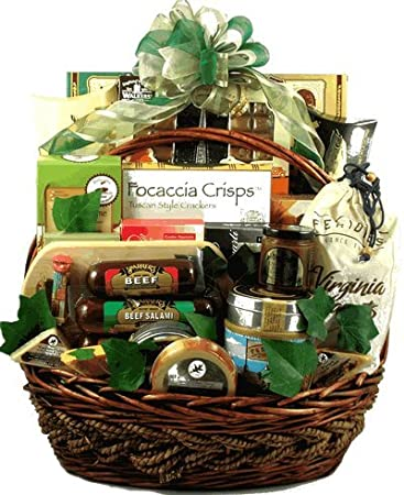 Elegant Office Party Deluxe Gift Basket Premium Sausage Cheese Cookies Snacks And
