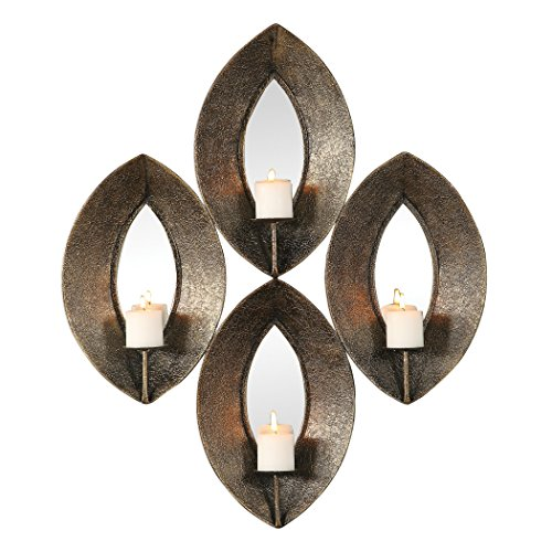 (My Swanky Home Elegant Bronze Ovals Mirrored Wall Candle Sconce | Multi 4 Pilllar Mid Century)