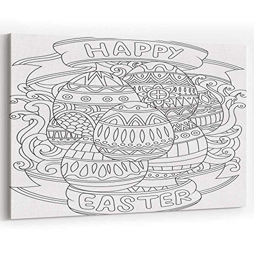 Happy Easter Background with Pattern Coloring Book Page Canvas Prints Wall Art for Home Decor