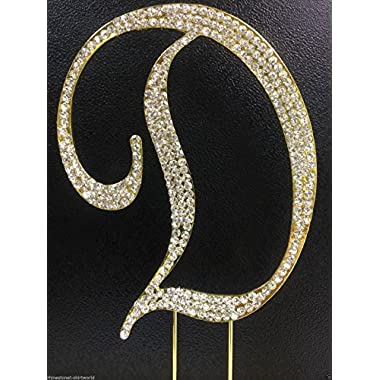 Crystal Rhinestone Covered Gold Monogram Wedding Cake Topper Letter D