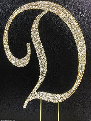 Crystal Rhinestone Covered Gold Monogram Wedding Cake Topper Letter D - Swarovski Crystal Wedding Cake