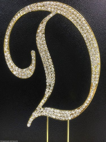 Crystal Rhinestone Covered Gold Monogram Wedding Cake Topper Letter D]()