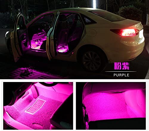 4pcs 48 LEDs DC 12V Multi-color Music Car Interior Music Light LED Underdash Lighting Kit with Sound Active Function and Wireless Remote Control Included Car Charger Car LED Strip Light