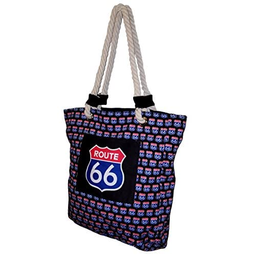 ROUTE 66 Red and Blue Sign Print Stonewashed Tote Bag