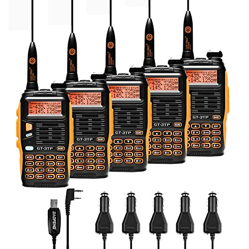 5 Pack Baofeng Pofung GT-3TP Mark-III Tri-Power 8/4/1W Two-Way Radio Transceiver, Dual Band 136-174/400-520 MHz True 8W High Power Two-Way Radio, with 23CM High Gain Antenna, Upgraded Chip + 1 Programming Cable Included (Dual Band Amplifier Vhf Uhf)