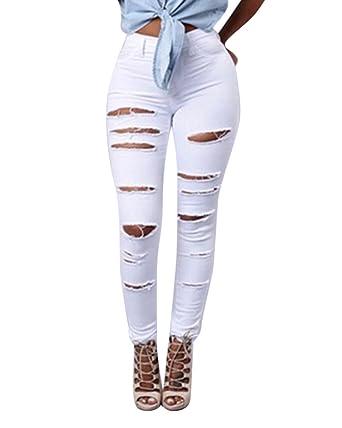 obtener nueva más de moda precio de descuento Denim Pantalones Jeans Rotos Vaqueros Push Up Vaqueros Elásticos Para Mujer