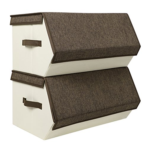 SONGMICS Large Stackable Magnetic Storage Bins with Lids handles Foldable Linen and Oxfrod Storage organizers for Clothes Documents and Kids toys, Set of 2, Brown URLB03K