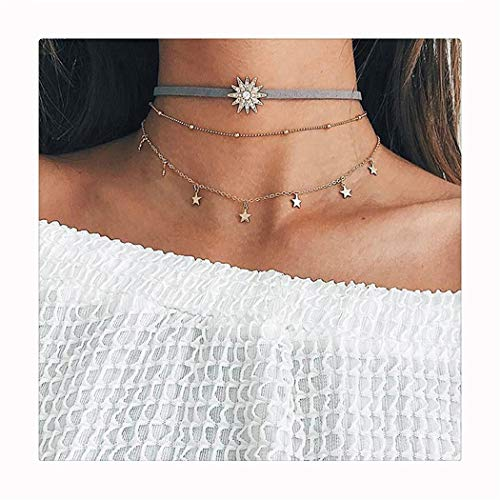 CH Gold Vintage Retro Star Sun Choker Necklace Women Girl Lady Long Chain Pendant Necklace