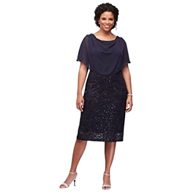 dbaca172 Sequin Lace Plus Size Short Mother of Bride/Groom Dress with Capelet Style  V310540, Navy, 14W at Amazon Women's Clothing store:
