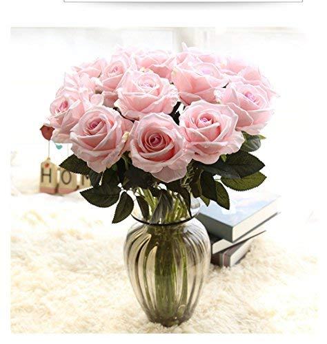 Crt Gucy Artificial Flowers Long Stem Silk Rose Flower Bouquet Wedding Party Home Decor, Pack of 6 (Light - Rose Light Pink