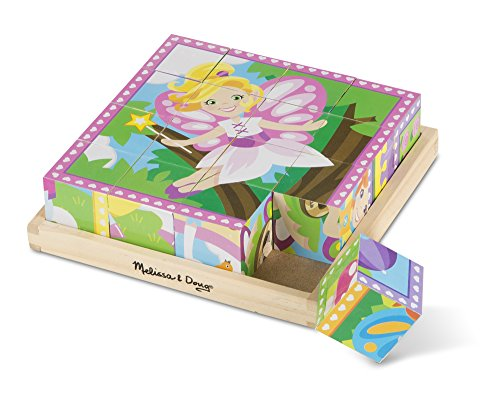 Melissa & Doug Princess and Fairy Wooden Cube Puzzle - 6 Puzzles in 1 (16 pcs) by Melissa & Doug