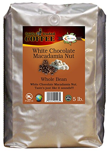 Ivory Chocolate Macadamia Nut Whole Bean Coffee 5lb. - Fairly Traded, Naturally Shade Grown, Kosher Certified