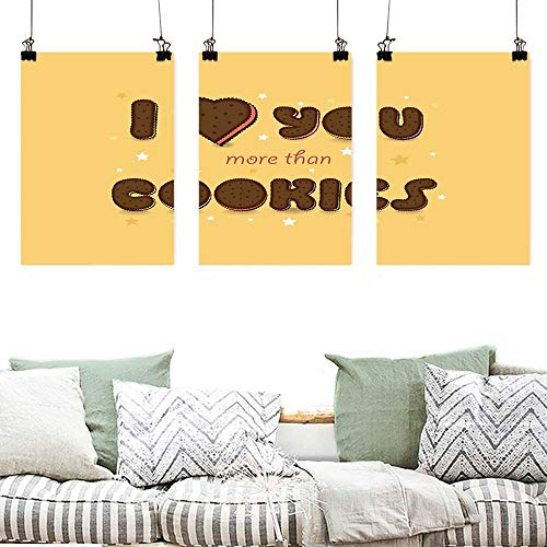 Oil Painting Modern Wall Art Posters I Love You More Valentines Quote with Chocolate Cream Filled Cookie Artistic Font Stars Painting Home Decor Prints Posters 3 panels 16x31inchx3pcs Multicolor ()