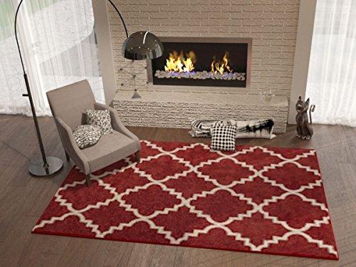 Teracotta Redwood Rug Trellis Morrocan Modern Geometric Wavy Lines 5x5 (5'3' Round) Area Rug Living Dining Room Bedroom Rug Carpet Contemporary Soft Plush Quality