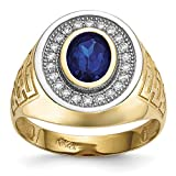 ICE CARATS 14k Yellow Gold Cubic Zirconia Cz Oval Blue Mens Band Ring Size 10.00 Signet Fine Jewelry Dad Mens Gift Set
