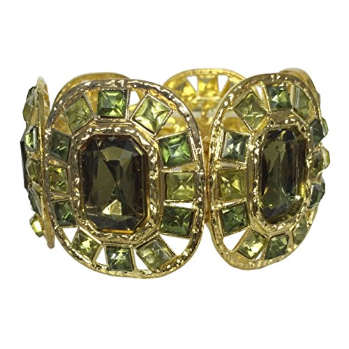 Gypsy Jewels Bling Gem Cubes on Wide Gold Tone Stretch Statement Bracelet - Multiple Colors (Green) ()