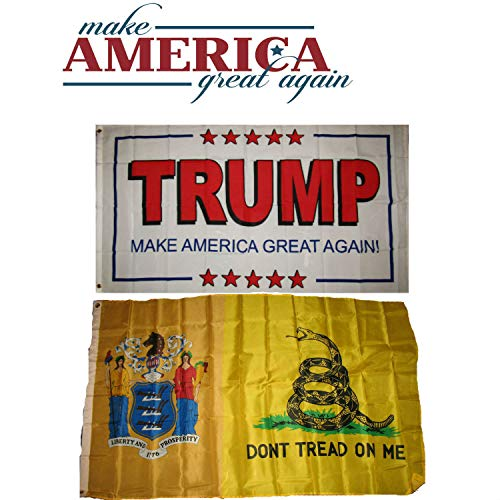 ALBATROS 3 ft x 5 ft Donald Trump White #2 with New Jersey Gadsden Flag Set for Home and Parades, Official Party, All Weather Indoors Outdoors
