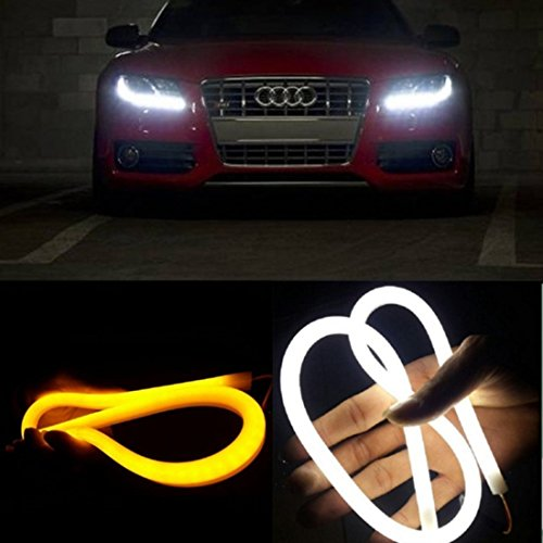 [2 Pack] EX1 Car LED Flexible Headlight DRL Daytime Running Light Turn Signal Light Tube Strip 30cm (White / Amber)