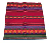 Alpakaandmore Original Peruvian Manta Fabric Different Sizes (130x100 cm/ 51.18x39.37, Red)