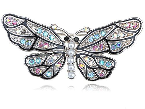 Multi Color Butterfly Brooch (Mosaic Multicolor Crystal Rhinestone Faux Pearl Body Butterfly Moth Pin Brooch)