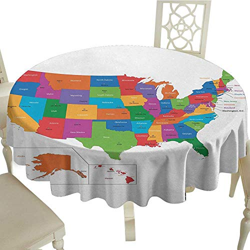longbuyer Round Tablecloth Black Wanderlust,Colorful USA Map with