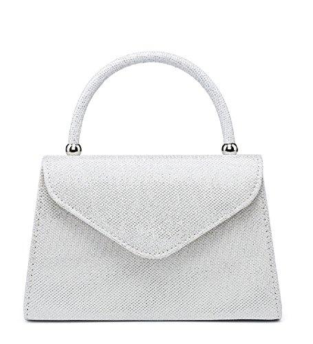 EAMUK Ladies Glittery Top Handle Clutch Bag Women's Evening Glitter Party Handbag MA35007 White