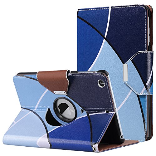 iPad Mini Case,iPad Mini 2 Case,iPad Mini 3 Case,ULAK 360 Degree Rotating Smart Synthetic Leather Stand Case Cover for Apple iPad Mini 1/2/3 with Auto Sleep/Wake Function (Blue)