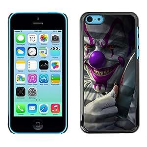 Caucho caso de Shell duro de la cubierta de accesorios de protección BY RAYDREAMMM - Apple iPhone 5C - Clown Evil Smile Devil Red Eyes Creepy