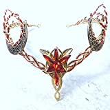 Evenstar Crescent Moon Circlet Red Gold Elven Headdress