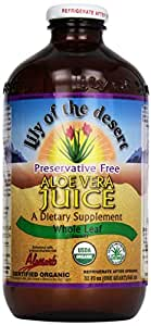 Lily of the Desert Aloe Juice, Preservative Free, Whole Leaf, 1 Quart (Packaging may vary)