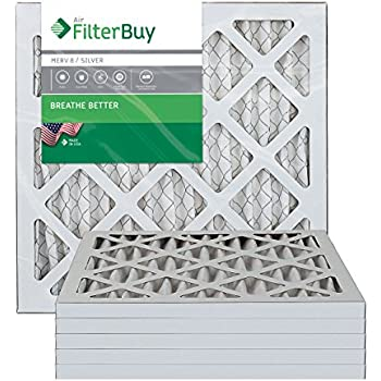 FilterBuy 10x10x1 MERV 8 Pleated AC Furnace Air Filter, (Pack of 6 Filters), 10x10x1 - Silver