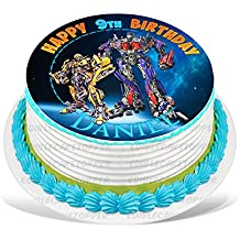 """Transformers Optimus Prime Bumblebee Edible Cake Topper Personalized Birthday 8"""" Round Circle Decoration Party Birthday Sugar Frosting Transfer Fondant Image ~ Best Quality Edible Image for Cake"""