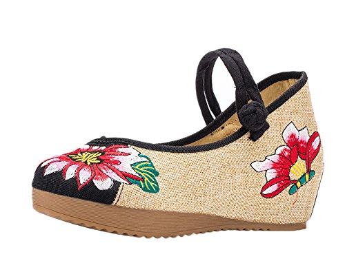 ezshe Multicolor Lotus bordado Mary Jane Cuñas Sandalias Zapatos Negro - negro